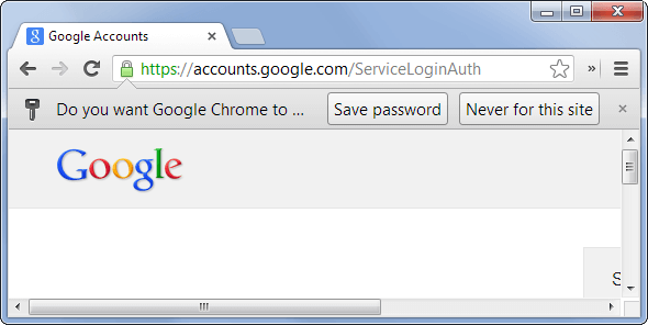 Save Password Feature in Google Chrome