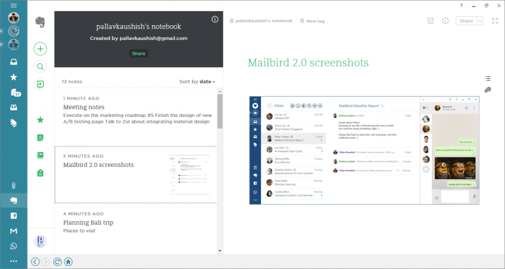 share images in evernote in mailbird