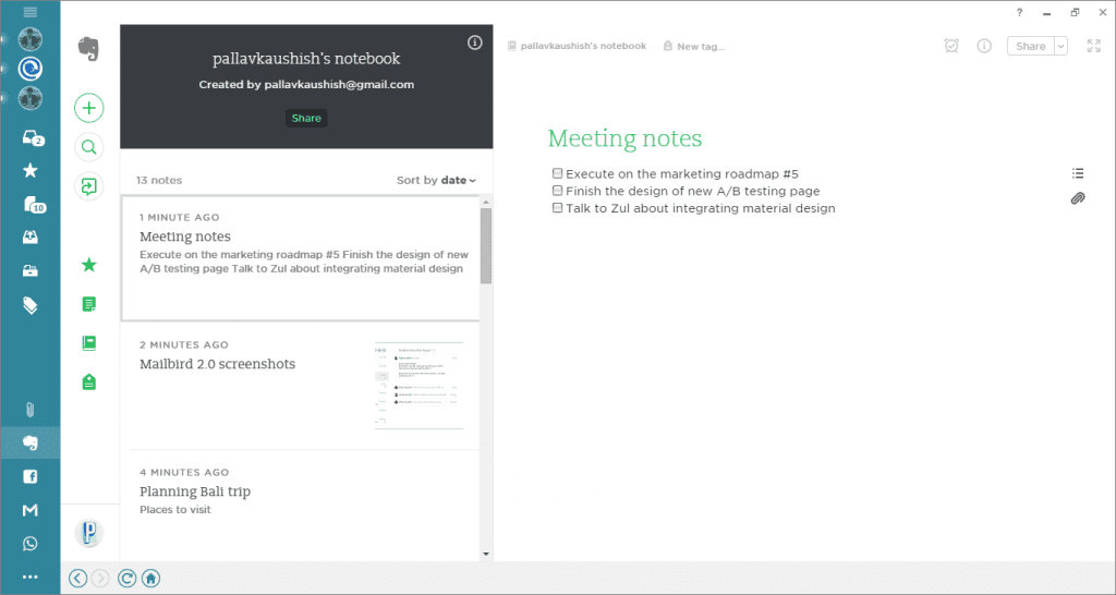 meeting notes in evernote in mailbird