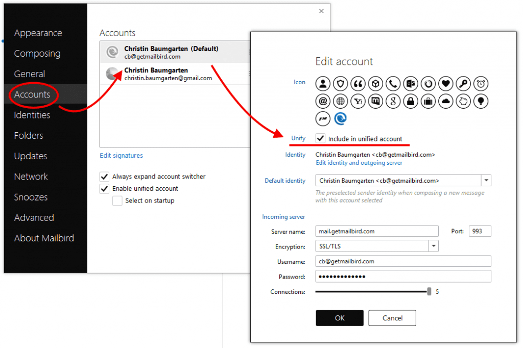 Remove single accounts from Unified Inbox Plus