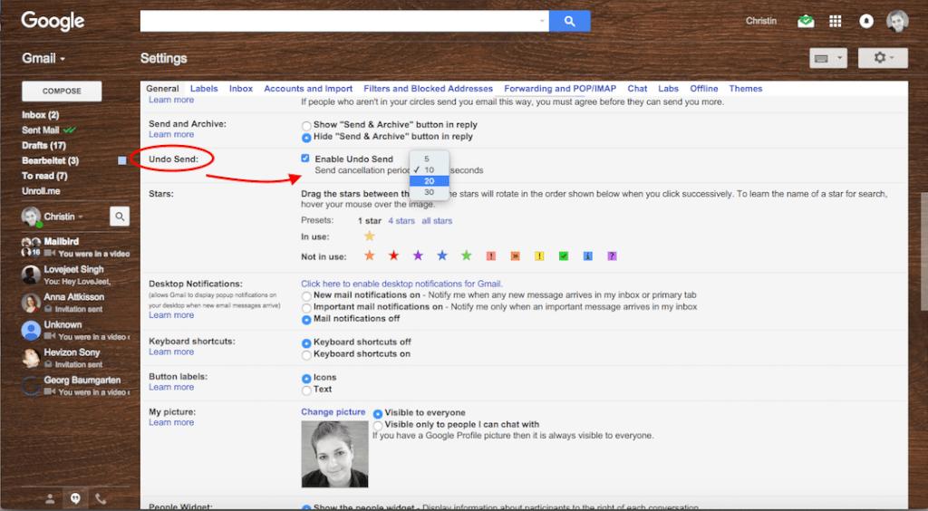 Gmail account undo send settings