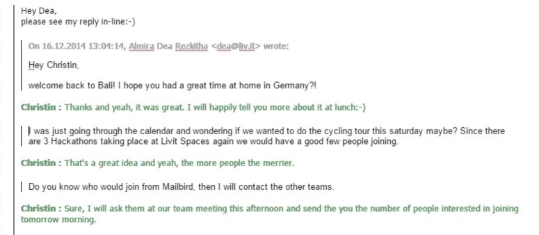 Inline reply in Mailbird