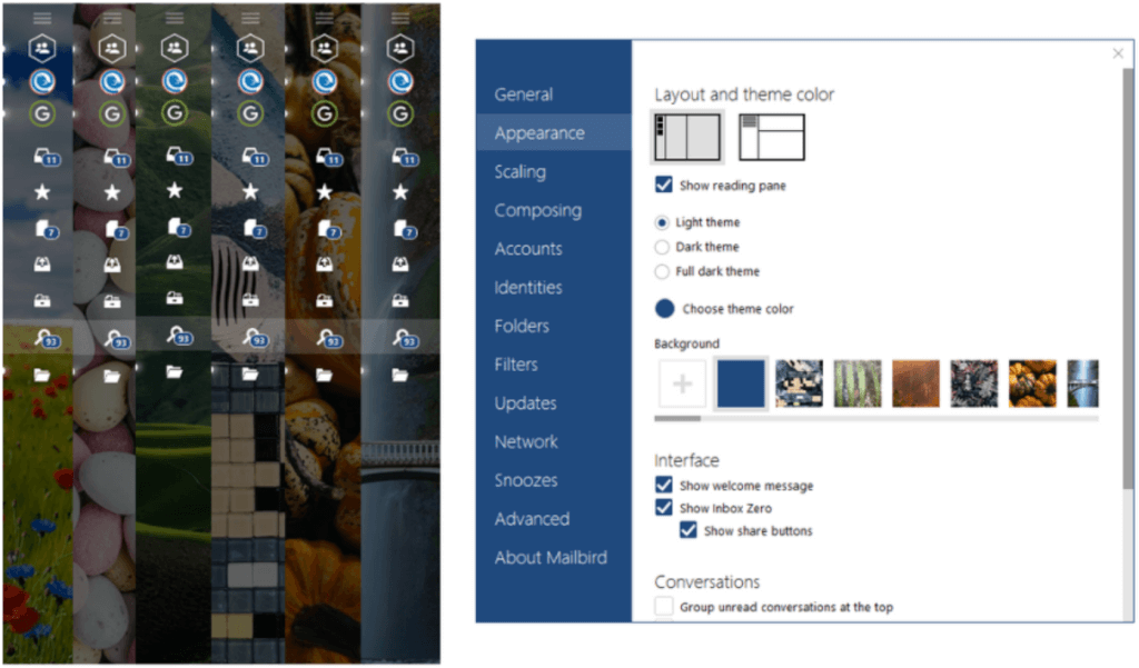 New Background Images in Mailbird Email Client