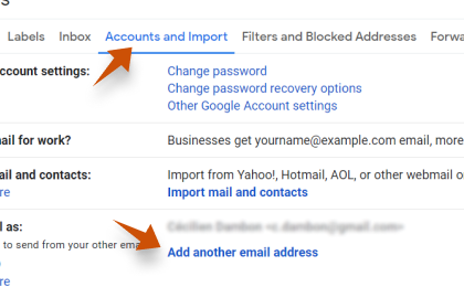 Step 2: To configure Alumnidirector.com On Gmail, Select Accounts and Import and then click on Add a mail account.