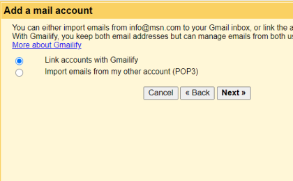 Step 4: To configure Gmx.com.my On Gmail, Select one of the 2 options.