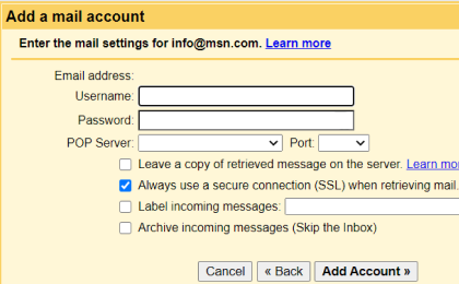 Step 5: To configure Comic.com On Gmail, Enter the following information to complete the email settings.