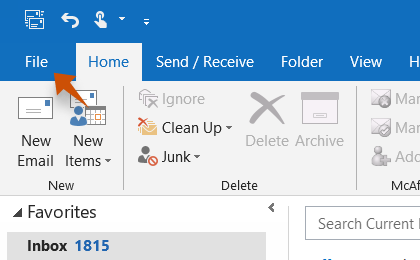 Step 1: To configure Versanet.de On Outlook, Click on the File tab in the upper-left corner of the Outlook window.