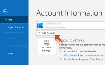 Step 2: To configure Jade.plala.or.jp On Outlook, Click Add Account