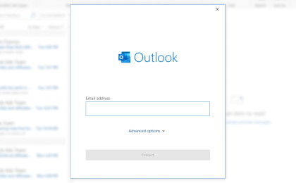 Step 3: To configure Blue.plala.or.jp On Outlook, Enter your new email address and click Connect