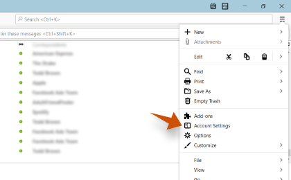 Step 1: To configure Lazy.dk On Thunderbird, In Mozilla Thunderbird, from the menu select Account Settings