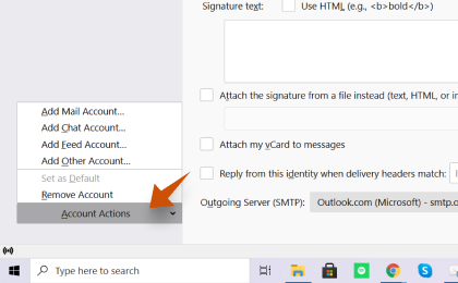 Step 2: To configure Uymail.com On Thunderbird, In the bottom left corner, click Account actions and <strong>Add Mail Account...
