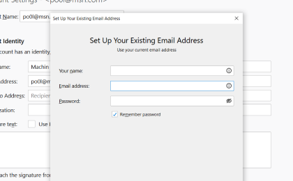 Step 3: To configure Secretary.net On Thunderbird, Enter your email address and click on Configure manually...