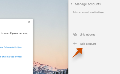 Step 3: To configure Zoho.com On Windows Mail, Click on + Add account