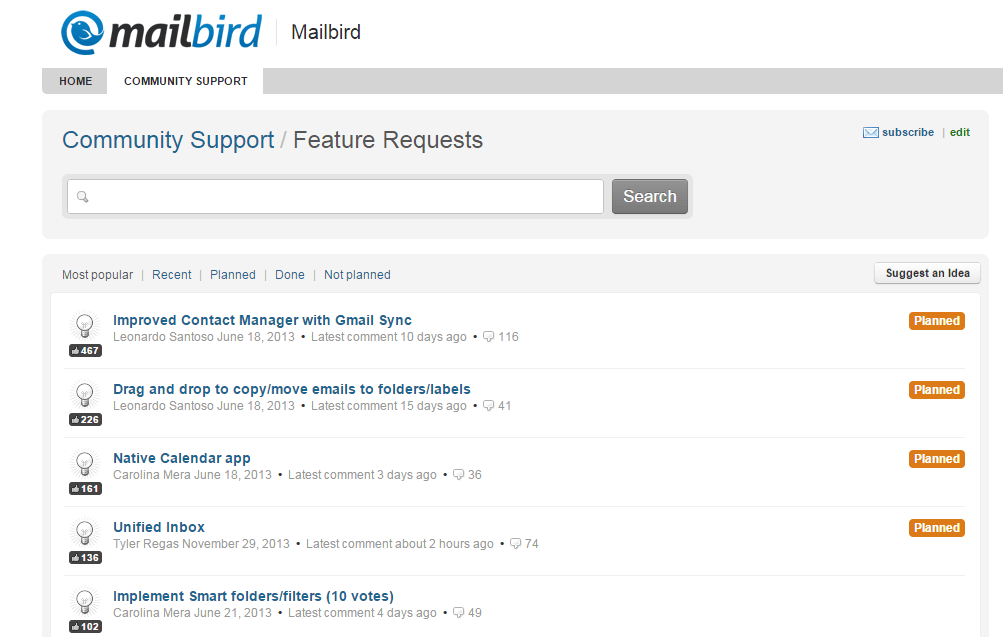 feature request section of Mailbird