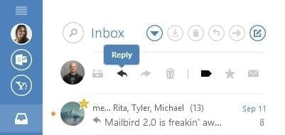 Quick Action Bar in Mailbird