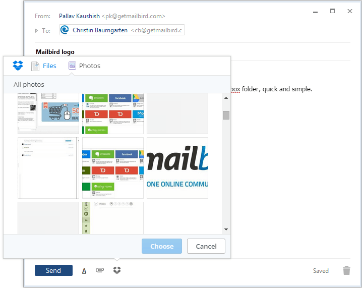 dropbox window in Mailbird compose window