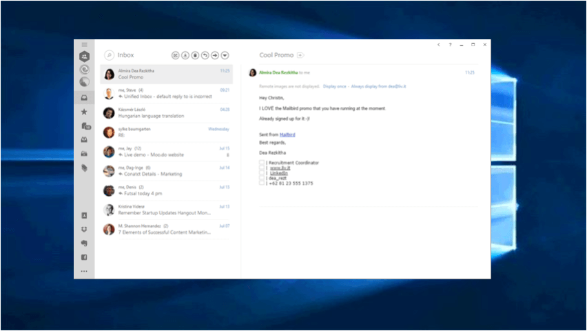 Mailbird on Windows 10