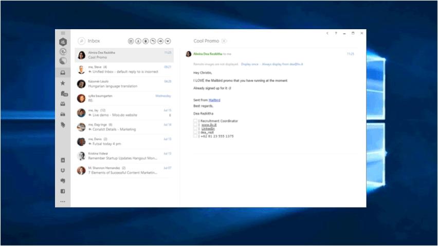 Mailbird on Windows 10