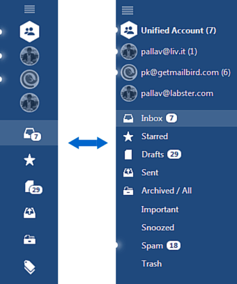Mailbird unified inbox expanded and collapsed