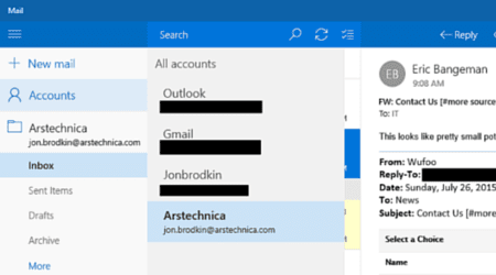 Windows 10 mail app with no unified inbox