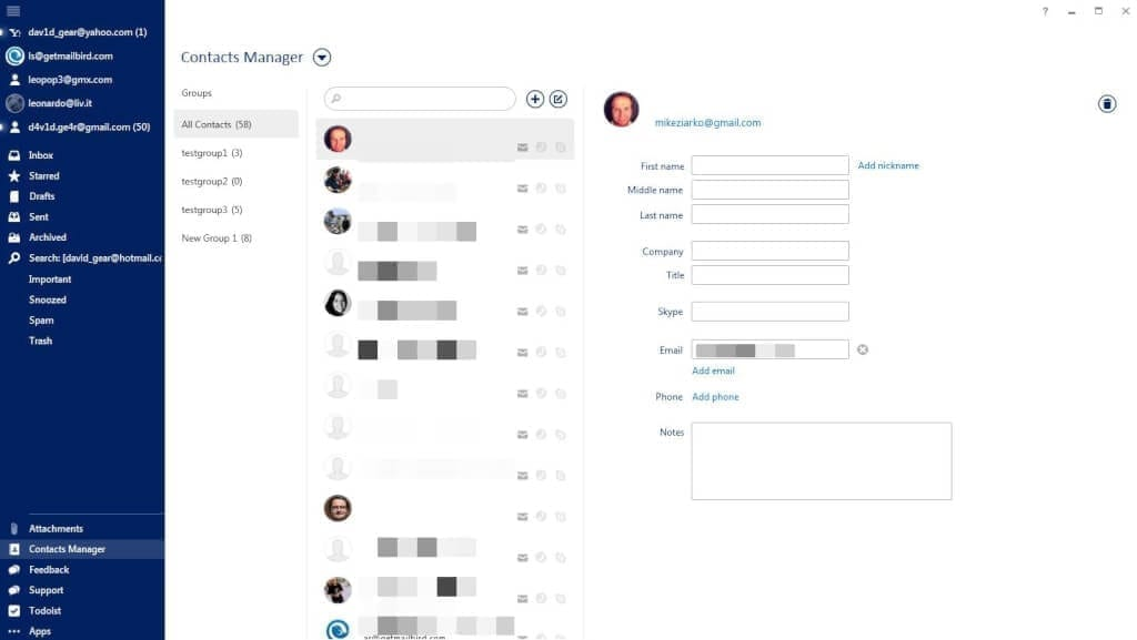 Mailbird Contacts Manager