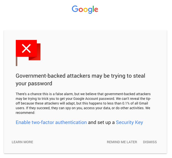 gmail account security warning
