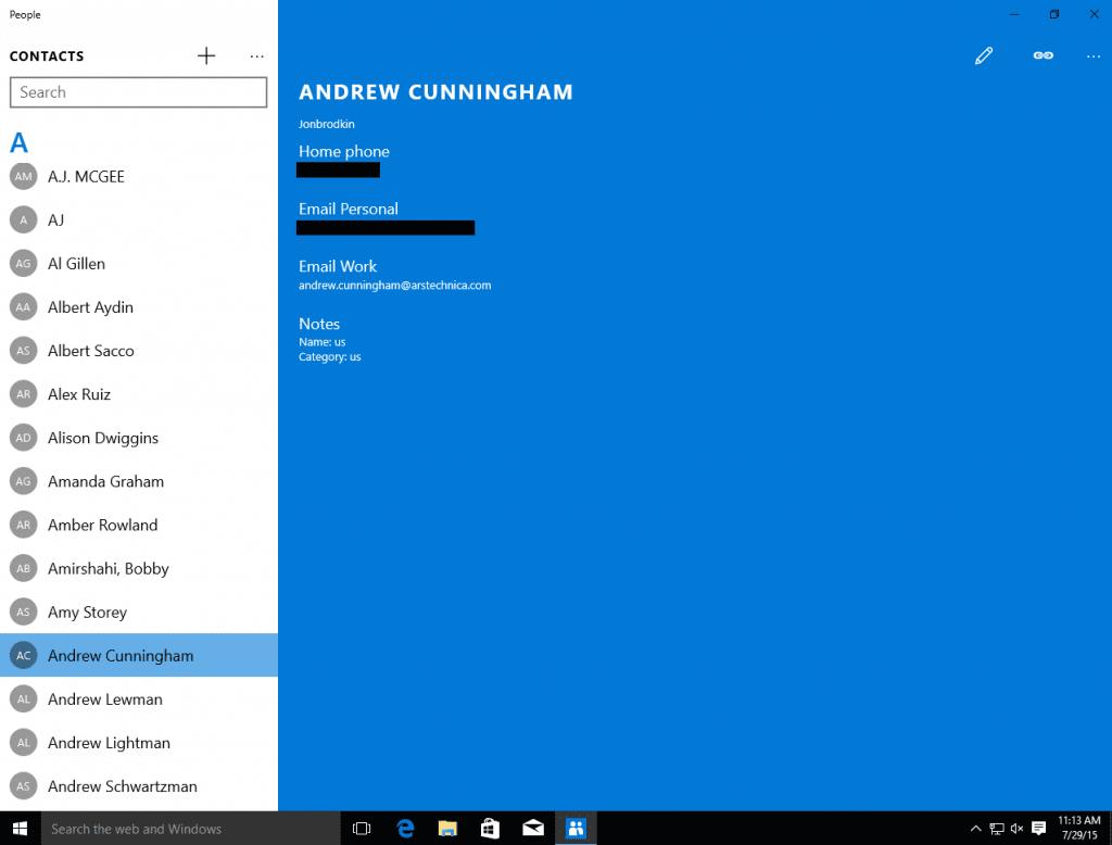 Windows 10 Mail App - Addressbuch