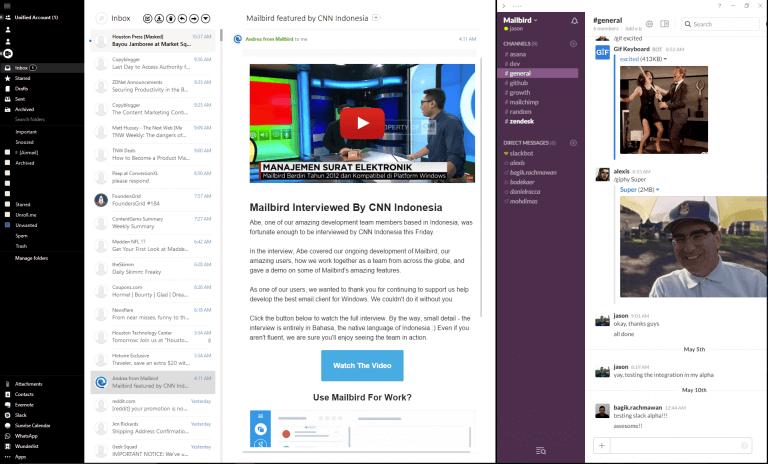 Slack in email client Mailbird