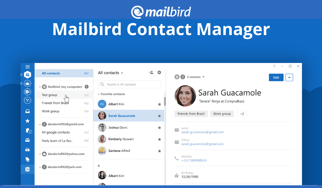 Mailbird Contact Manager app