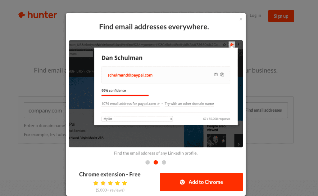 Email Hunter email search