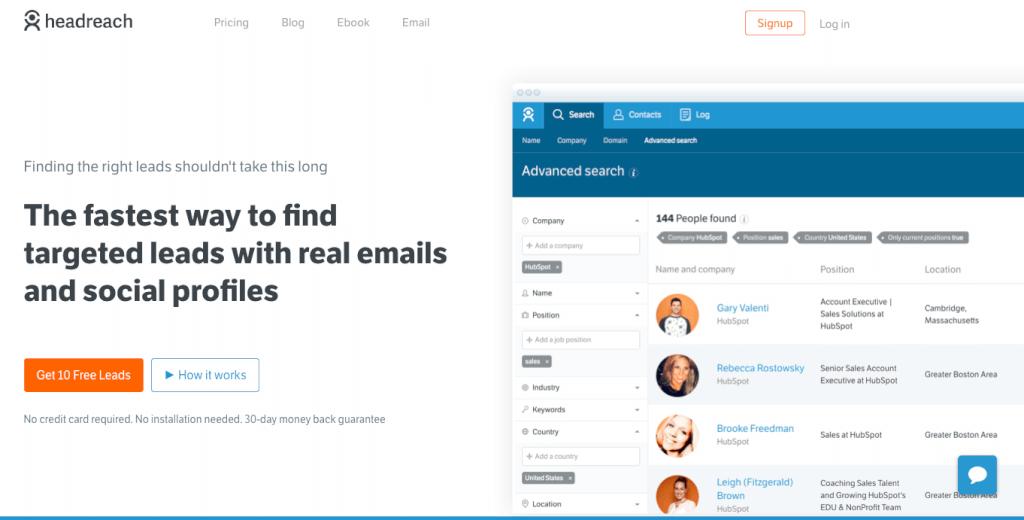 HeadReach email search