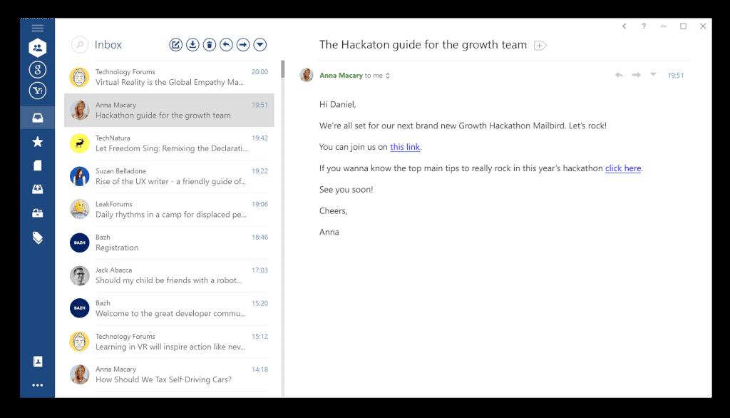 Unified inbox in Outlook vs. Mailbird