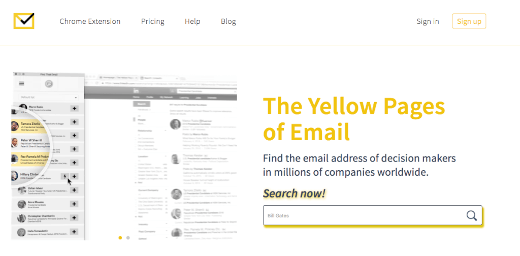 Yellow Pages Chrome extension