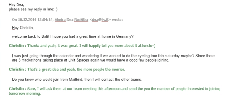 Inline reply in Mailbird