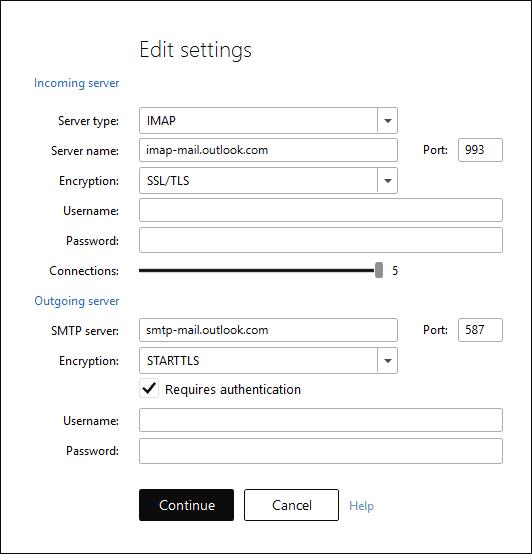 Email account setup