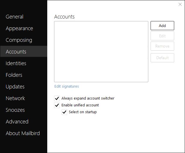Adding accounts in Mailbird