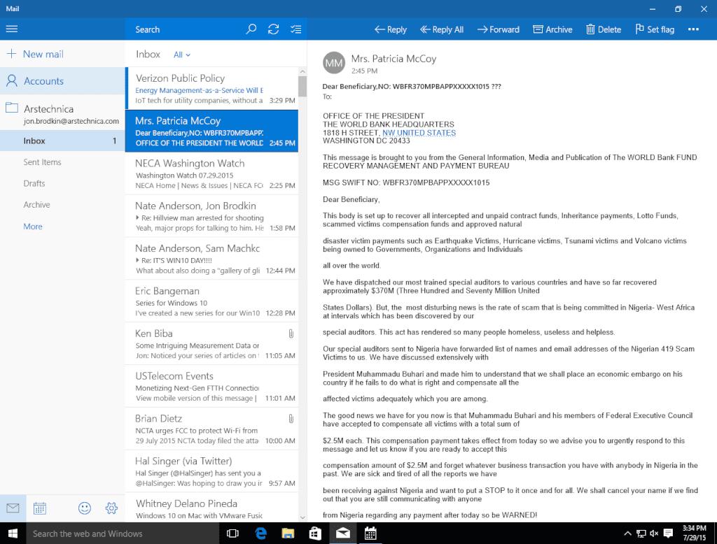 Windows 10 Mail app three-column view