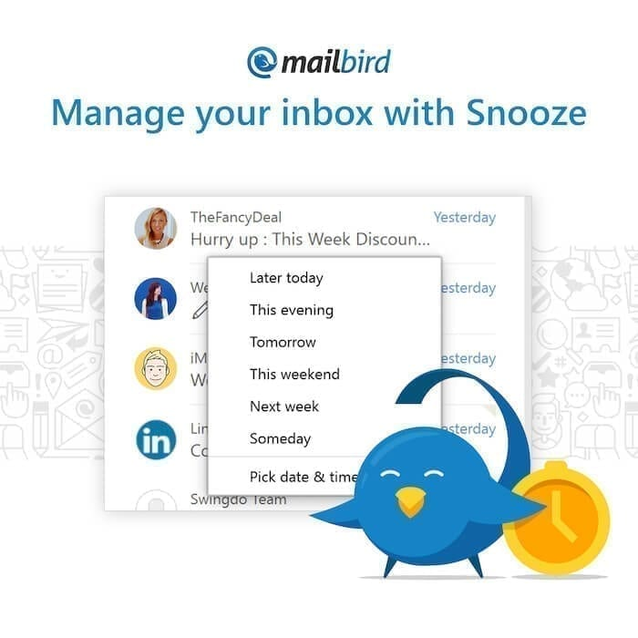 Snooze your emails in Mailbird