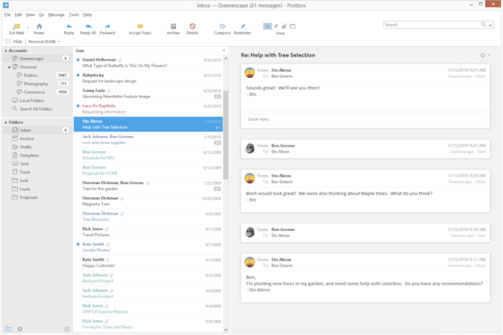 Postbox email client for Windows