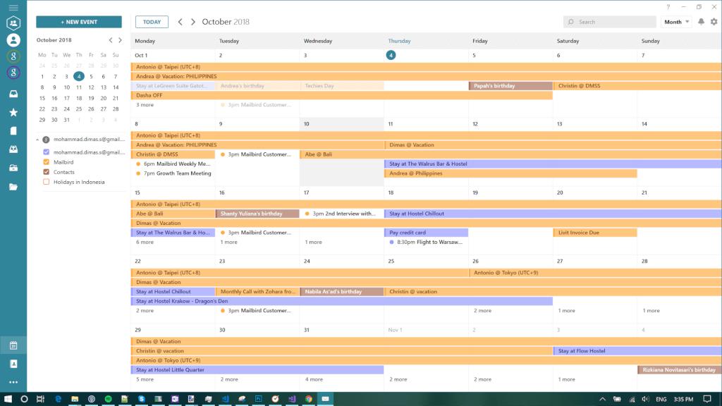 Mailbird Calendar's Main View and Features