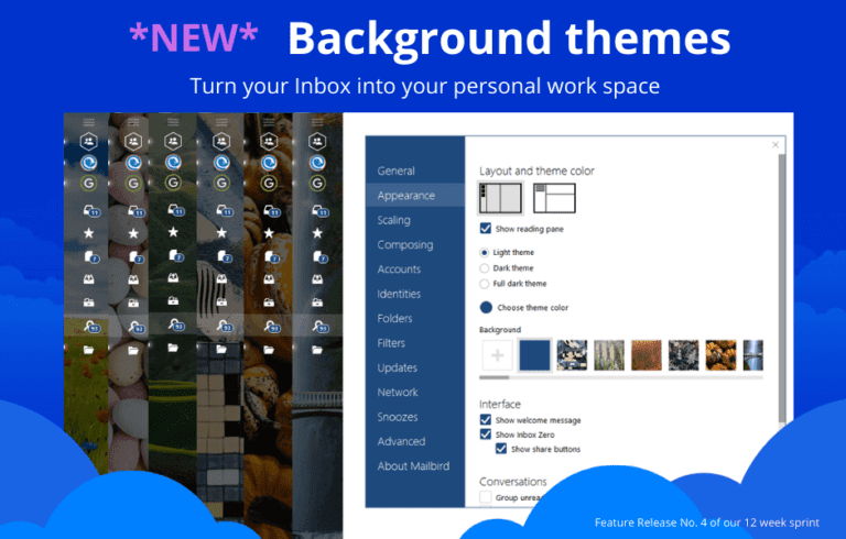How can you customize your email background?