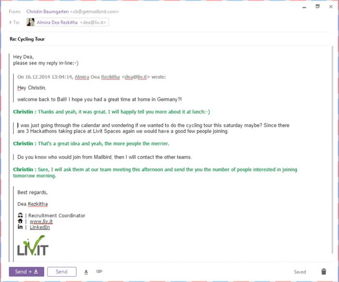 Mailbird in-line reply